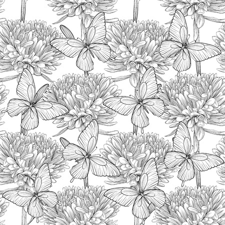 Beautiful monochrome, black and white seamless background with flowers aster and butterflies  Hand-drawn contour lines and strokes  Perfect for background greeting cards and invitations of the wedding, birthday Vector