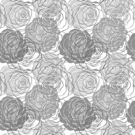 rosas negras: bella modelo inconsútil blanco y negro en rosas con contornos dibujados a mano las curvas de nivel y los golpes perfectos para las tarjetas y las invitaciones de la boda, cumpleaños, día de San Valentín de fondo