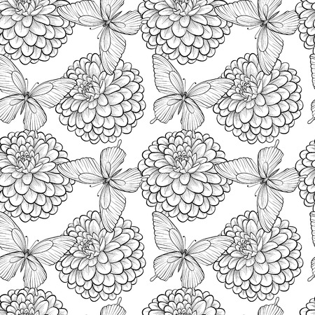 Beautiful seamless background with monochrome black and white butterflies and dahlias  Hand-drawn contour lines and strokes  Perfect for background greeting cards and invitations of the wedding, birthday, Valentine Vector