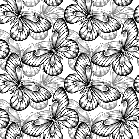 Beautiful seamless background of butterflies black and white colors  Hand-drawn contour lines and strokes  Perfect for background greeting cards and invitations of the wedding, birthday Vector