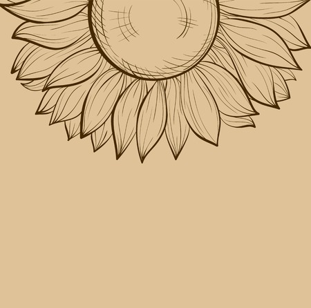 flower sketch: beautiful background with sunflowers  Hand-drawn contour lines and strokes  Perfect for background greeting cards and invitations