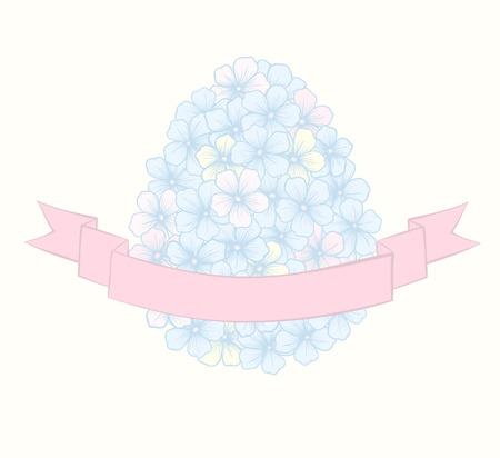 beautiful Easter greeting card with flowers graphics in the form of eggs with ribbon labeling   Hand-drawn contour lines and strokes  Vector