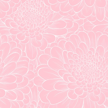 Beautiful seamless background with flowers  Hand-drawn contour lines and strokes  Perfect background greeting cards and invitations to the day wedding, birthday, Valentine Vector