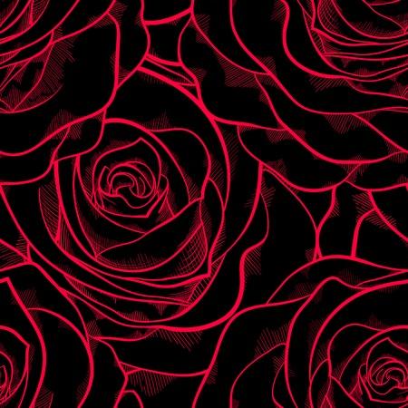 手描きの輪郭線の輪郭と背景グリーティング カードと招待状結婚式の完璧なストロークのバラで美しいシームレス パターン誕生日、バレンタイン  イラスト・ベクター素材