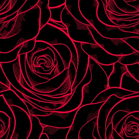 beautiful seamless pattern in roses with contours  Hand-drawn contour lines and strokes  Perfect for background greeting cards and invitations of the wedding, birthday, Valentine