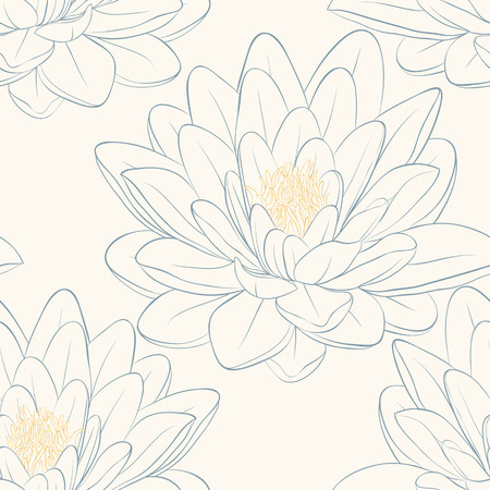 waterlily: Beautiful seamless pattern with lotus flowers  Hand-drawn contour lines and strokes  Perfect for background greeting cards and invitations of the wedding, birthday