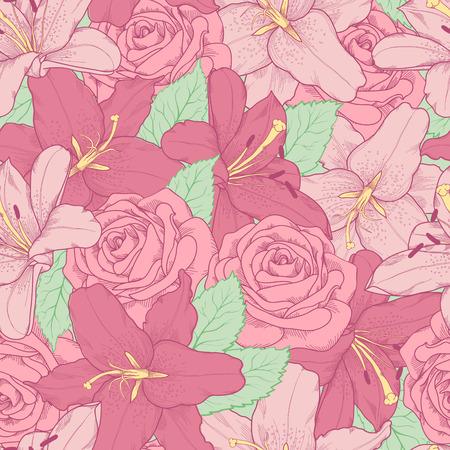 美しいのシームレスな背景のピンクのユリとバラ手で描かれた輪郭線とストローク完璧な背景グリーティング カードおよび招待状結婚式、誕生日、