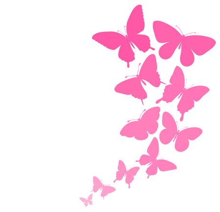 Fondo con una frontera de mariposas volando Perfecto para las tarjetas de felicitación e invitaciones de fondo para el día de la boda, de cumpleaños Foto de archivo - 27539585