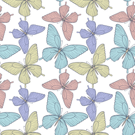 Beautiful seamless background with bright colorful butterflies   Hand-drawn contour lines and strokes  Perfect for background greeting cards and invitations to the day of the wedding, birthday Vector