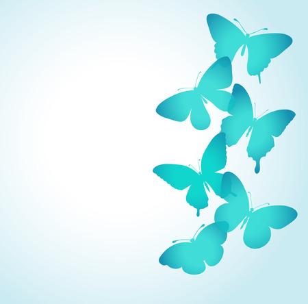 mariposas volando: fondo con una frontera de mariposas volando. Perfecto para las tarjetas de felicitación de fondo y las invitaciones para el día del día de la boda, de cumpleaños, de la madre