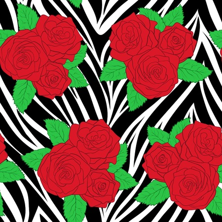 bouquets of roses on animal zebra abstract print. Seamless pattern. Perfect for background greeting cards and invitations of the wedding, birthday, Valentines Day Vector