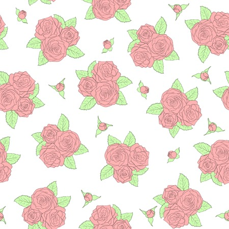 beautiful bouquets of roses Seamless pattern. Perfect for background greeting cards and invitations of the wedding, birthday, mothers Day.  Vector