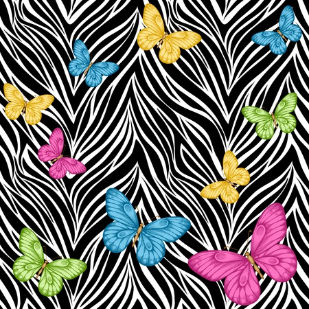 butterfly on flower: Beautiful seamless background. butterflies on animal zebra abstract print. Perfect for greeting cards and invitations of the wedding, birthday, mothers Day.  Illustration