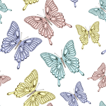 Beautiful seamless background with bright colorful butterflies.   Hand-drawn contour lines and strokes.  Perfect for background greeting cards and invitations to the day of the wedding, birthday Vector