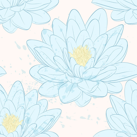 Beautiful seamless pattern with lotus flowers  Hand-drawn contour lines and strokes.  Perfect for background greeting cards and invitations of the wedding, birthday Vector