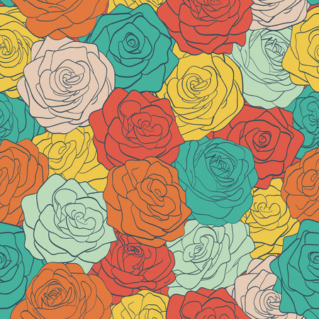 beautiful seamless pattern colorful vintage roses.  Hand-drawn contour lines and strokes.  Perfect for background greeting cards and invitations to the day of the wedding, birthday, Valentine Vector
