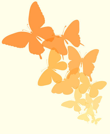 abstract butterfly: background with a border of butterflies flying