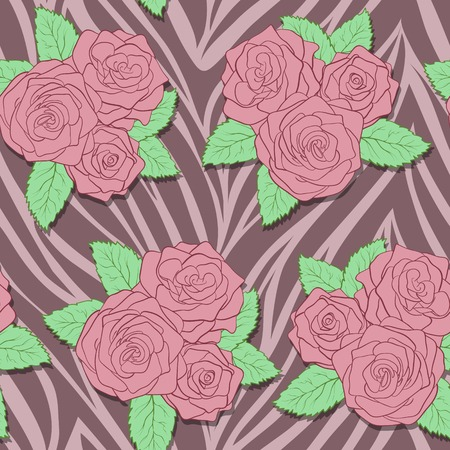 beautiful bouquets of roses on animal abstract print Vector