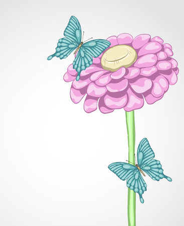 wedding backdrop: background for greeting card with flower and butterflies