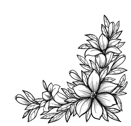 Beautiful black and white branch with flowers  Drawn in graphical retro style  Perfect for background greeting cards and invitations of the wedding, birthday, Valentine s Day