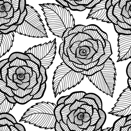 beautiful seamless black and white pattern in roses and leaves lace  Hand-drawn contour lines and strokes  Perfect for background greeting card and invitation of the wedding, birthday, Valentine Vector