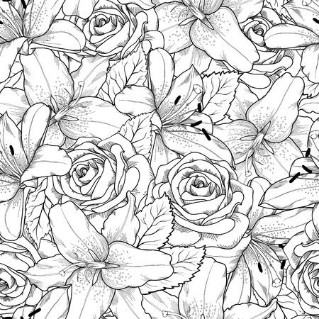 Mooie naadloze achtergrond met zwarte en witte lelie en rozen Hand getekende contourlijnen en beroertes Perfect achtergrond wenskaart en uitnodigingen voor de dag bruiloft, verjaardag, Valentijn