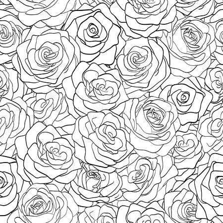 beautiful black and white seamless pattern in roses with contours  Hand-drawn contour lines and strokes  Perfect for background greeting cards and invitations of the wedding, birthday, Valentine Vector