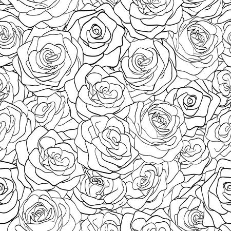Bella modelo inconsútil blanco y negro en rosas con contornos dibujados a mano las curvas de nivel y los golpes perfectos para las tarjetas y las invitaciones de la boda, cumpleaños, día de San Valentín de fondo Foto de archivo - 28491706