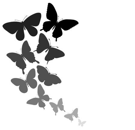 mariposas volando: fondo con una frontera de mariposas volando perfecto para las tarjetas y las invitaciones de la boda, cumplea�os, d�a de San Valent�n de fondo