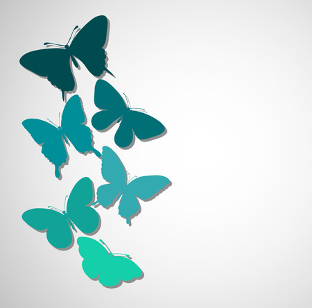 background with a border of butterflies flying  Perfect for background greeting cards and invitations to the day of the wedding, birthday Vector