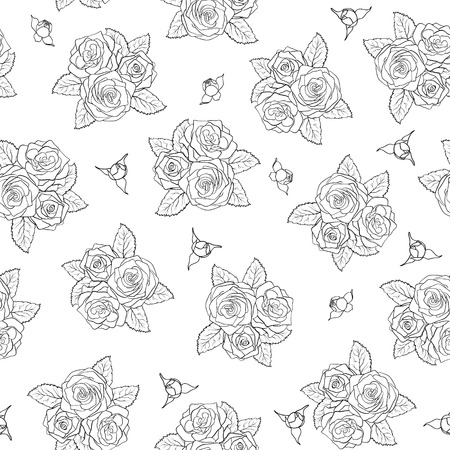 beautiful bouquets of roses Seamless pattern  Perfect for background greeting cards and invitations of the wedding, birthday, mother Vector