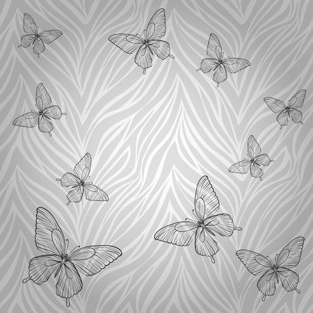 Beautiful seamless pattern with butterflies of abstract striped background  Perfect for greeting card and invitations of the wedding, birthday, mother Vector