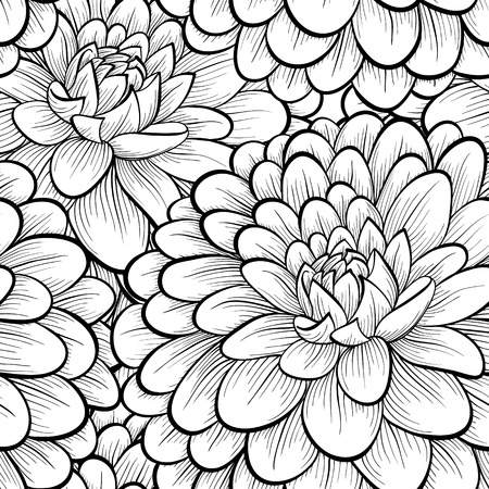 Beautiful seamless background with monochrome black and white flowers  Hand-drawn contour lines and strokes    Perfect for greeting cards and invitations of the wedding, birthday, mother Vector