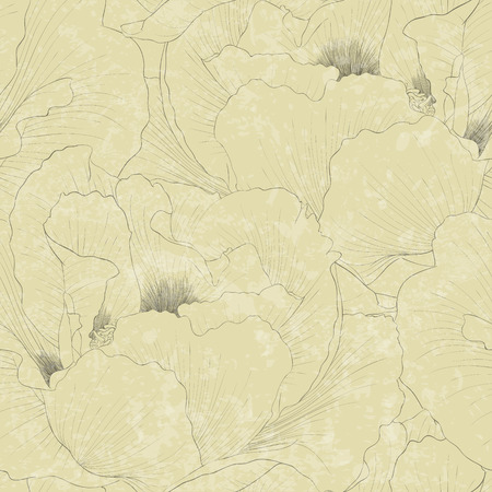 tree peony: Beautiful seamless background with flowers Plant Paeonia arborea (Tree peony) . Hand-drawn contour lines and strokes.