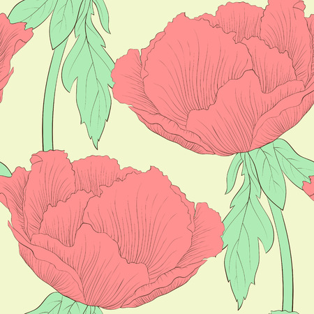 Beautiful seamless background with flowers Plant Paeonia arborea (Tree peony) with stem and leaves. Hand-drawn contour lines and strokes. Vector