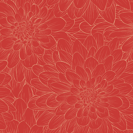 Beautiful seamless pattern with flowers. Hand-drawn contour and strokes. Vector