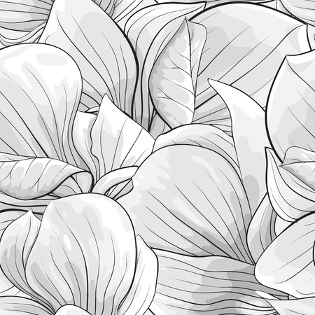black and white image: Beautiful monochrome, black and white seamless background with magnolia. Hand-drawn with effect of drawing in watercolor