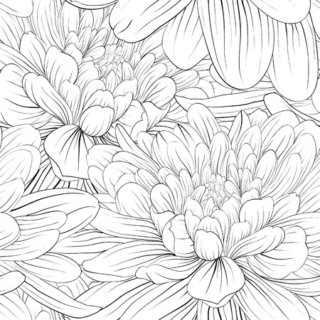 Beautiful monochrome, black and white seamless background with flowers dahlia. Hand-drawn contour lines and strokes.  イラスト・ベクター素材