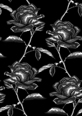 Beautiful monochrome, black and white seamless background with gray roses with stem and leaves. Hand-drawn with effect of drawing in watercolor Vector