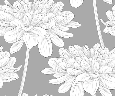 Beautiful monochrome, black and white seamless background with flowers dahlia with a stem. Hand-drawn contour lines and strokes. Vector