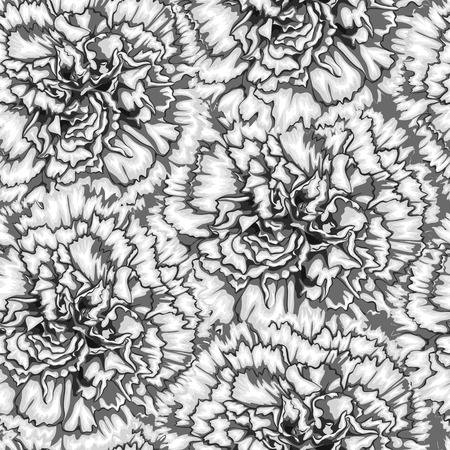 carnation: Beautiful monochrome, black and white seamless background with carnation. Hand-drawn with effect of drawing in watercolor