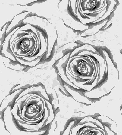 Beautiful monochrome, black and white vertical seamless background with gray roses, sprays, drops. Hand-drawn with effect of drawing in watercolor