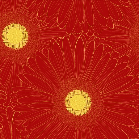 Beautiful seamless background with gerbera flower . Hand-drawn contour lines and strokes. Vector
