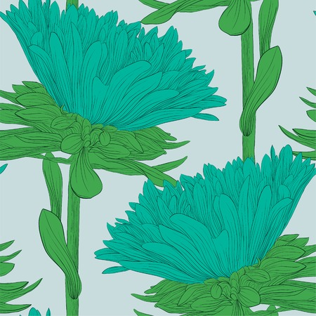 Beautiful seamless background with blue flowers aster. Hand-drawn contour lines and strokes. Vector