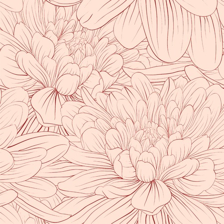 Beautiful seamless background with pink flowers. Hand-drawn contour lines and strokes.