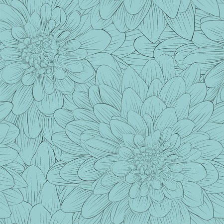Beautiful seamless background with blue flowers. Hand-drawn contour lines and strokes.