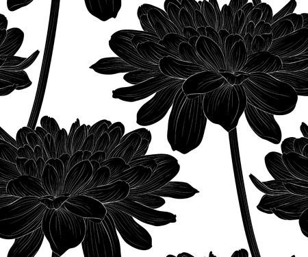 Beautiful monochrome, black and white seamless background with flowers dahlia with a stem. Hand-drawn contour lines and strokes.