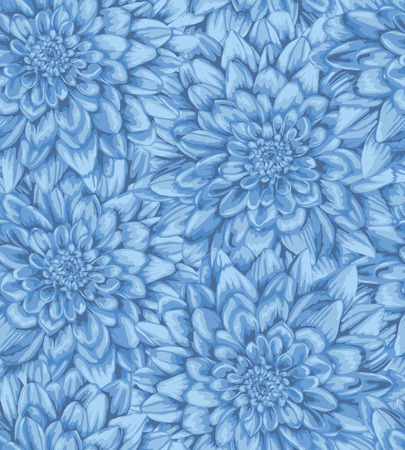 Beautiful vertical seamless background with dahlia. Hand-drawn with effect of drawing in watercolor Vectores