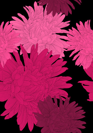 aster: Beautiful seamless background with pink flowers aster. Hand-drawn contour lines and strokes. Illustration