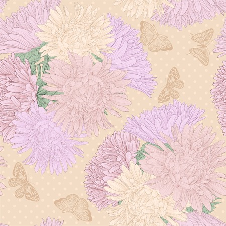 spotted flower: Beautiful seamless background with bouquet flowers. Hand-drawn contour lines and strokes.